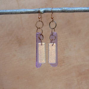 Image of Violet glass/salmon dichroic glass earrings