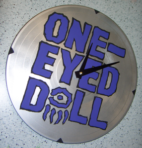 Image of One-Eyed Doll x DM -Blue on Black - Custom Record Clock