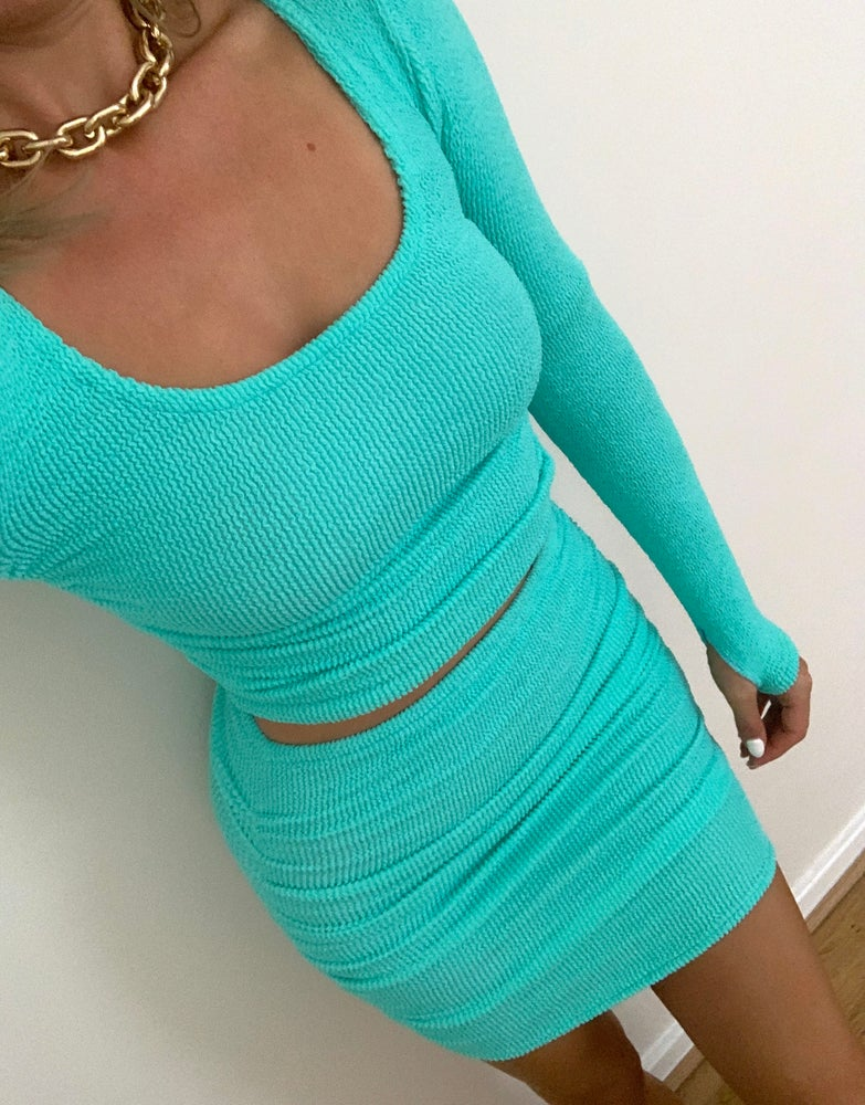 Image of Mint Ruched Skirt Set OR Seperates
