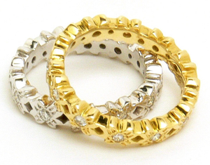 Image of Small Flower Diamond Eternity Band