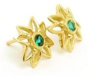 Image of Emerald Stud Flower Earrings