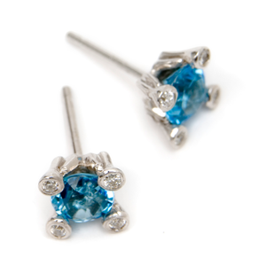 Image of Blue Topaz and Diamond 4 Prong Earrings