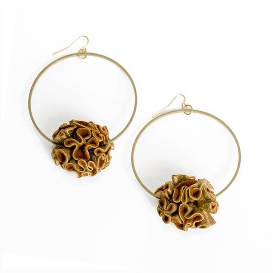 Image of victorian ruffle pom pom earrings