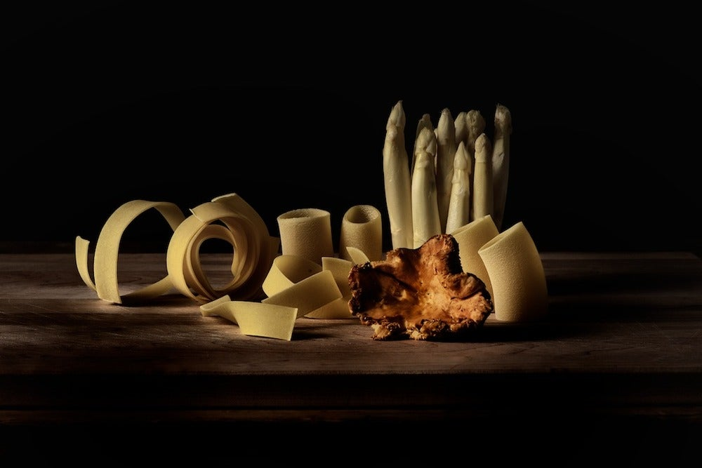 Image of Papperdelle and Paccheri pasta, white asparagus, Chanterelle mushroom