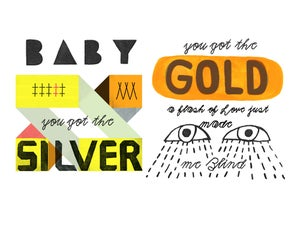 Image of Silver and Gold - Rolling Stones 9x12