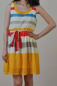 Image of Colorful Stripe Chiffon Dress