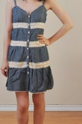 Image of Denim Dress with Crochet Detail