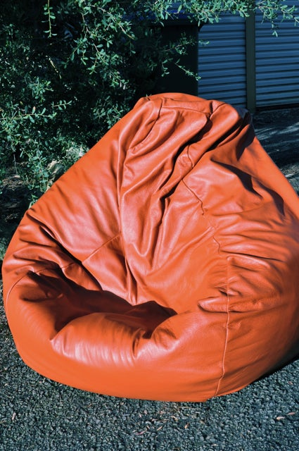 Image of Orange Leather Bean Bag