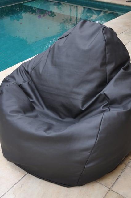 Image of Black Leather Beanbag