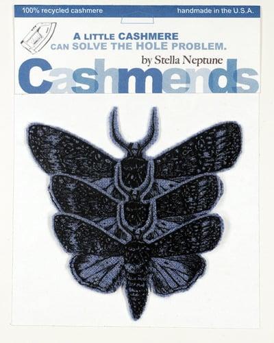 Image of Iron-on Cashmere Moths -  Dark Heather Blue
