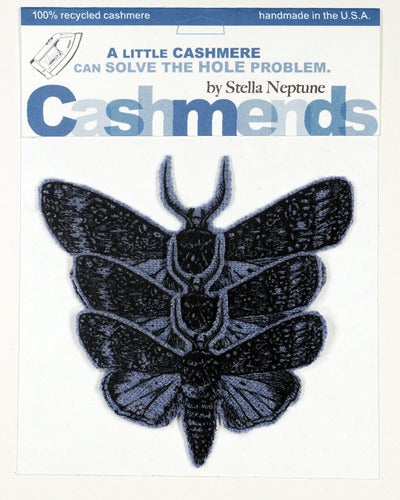 Image of Iron-on Cashmere Moths -  Dark Heather Blue