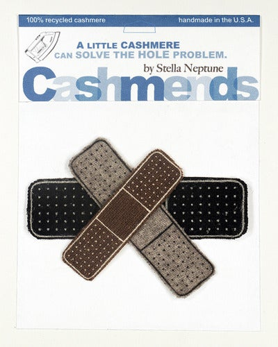 Image of Iron-on Cashmere Band-Aids - Black/Brown/Gray