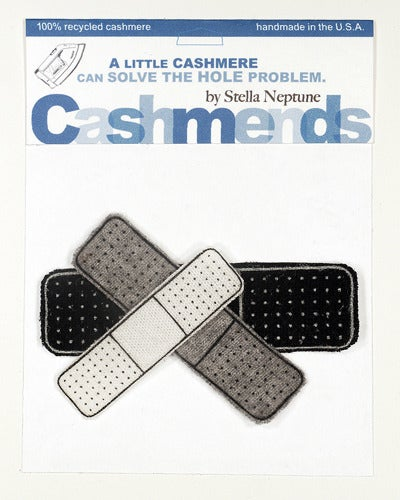 Image of Iron-on Cashmere Band-Aids - Black/Grey/Cream