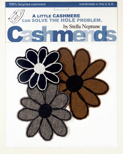 Image of Iron-on Cashmere Flowers - Black/Brown/Gray