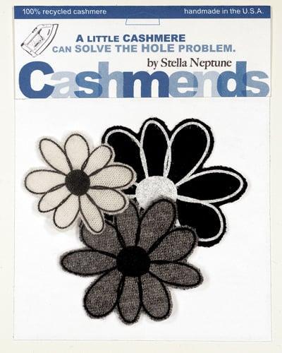 Image of Iron-on Cashmere Flowers - Black/Gray/Cream