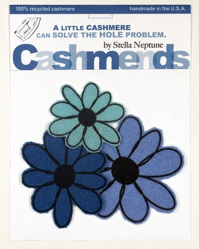 Image of Iron-on Cashmere Flowers - Triple Blue