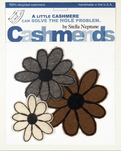Image of Iron-on Cashmere Flowers - Brown/Gray/Cream