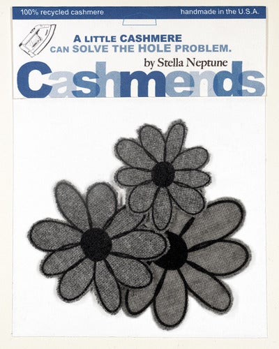 Image of Iron-on Cashmere Flowers - Medium Gray