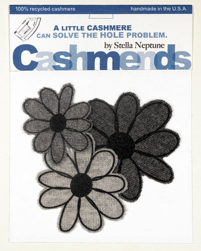 Image of Iron-on Cashmere Flowers - Triple Grey