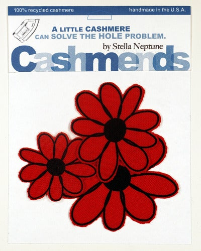 Image of Iron-on Cashmere Flowers - Tomato Red