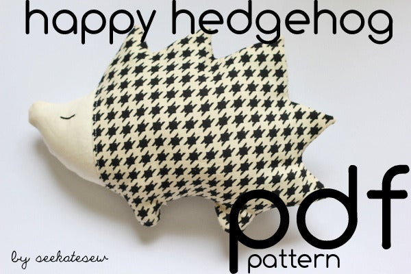Image of happy hedgehog pdf pattern