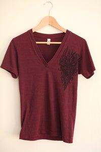Image of Burgandy Deep V Neck Tri Blend NVR-NDR shirt by Sexy Deathray