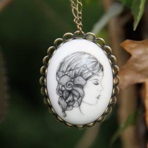 Image of Cordelia Illustrated Porcelain Pendant