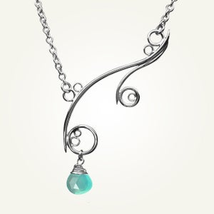 Image of Greek Isle Necklace with Aqua Chalcedony, Sterling Silver