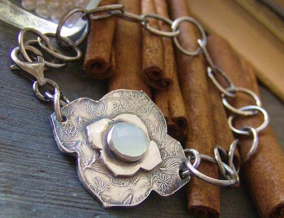 Image of Moroccan Sky... hand stamped fine silver and gem stone hand made bracelet