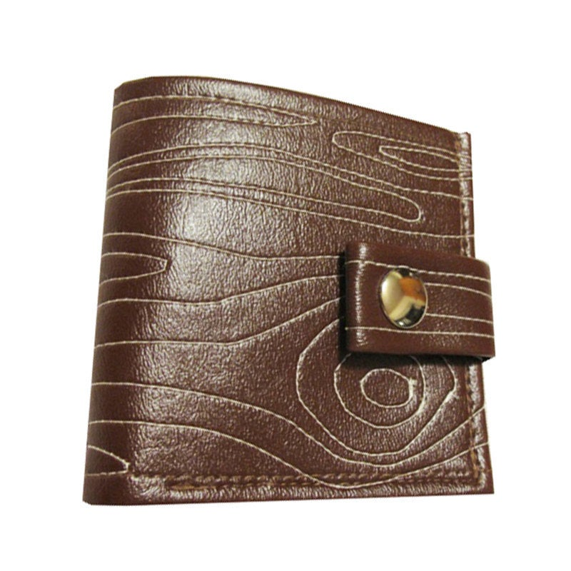 Image of Woodgrain ) Bifold Wallet with Snap (Plus Zipper!)