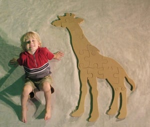 Image of Unfinished READY TO PAINT Wooden Animal Puzzle Giraffe Cutout