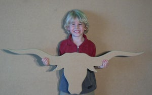 Image of Unfinished READY TO PAINT Wooden Texas Longhorn Cutout