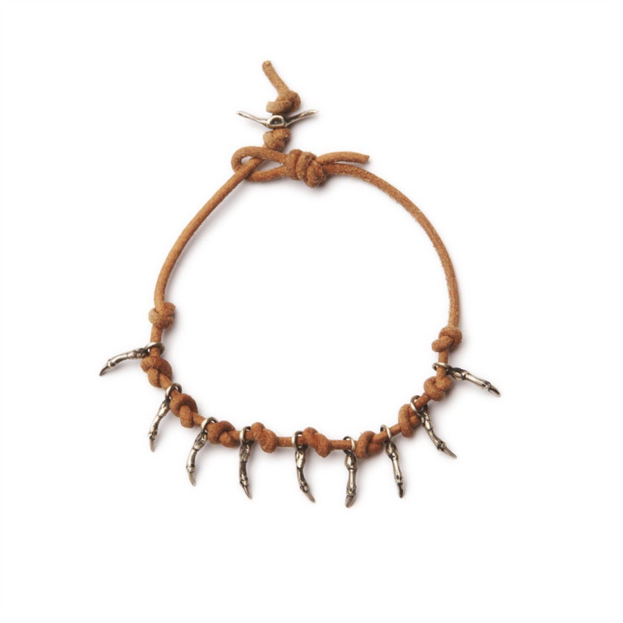 Image of silver branch leather bracelet (B059SIL7)
