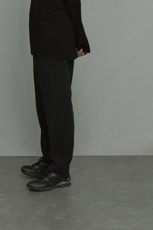 Image of TRAN - 剪接舒適長褲 (黑)