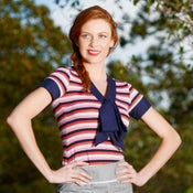 "Image of Pink, Navy & White Stripe ""Marie Bow Top"" Knit Jersey T-shirt, w Navy Large Bow"