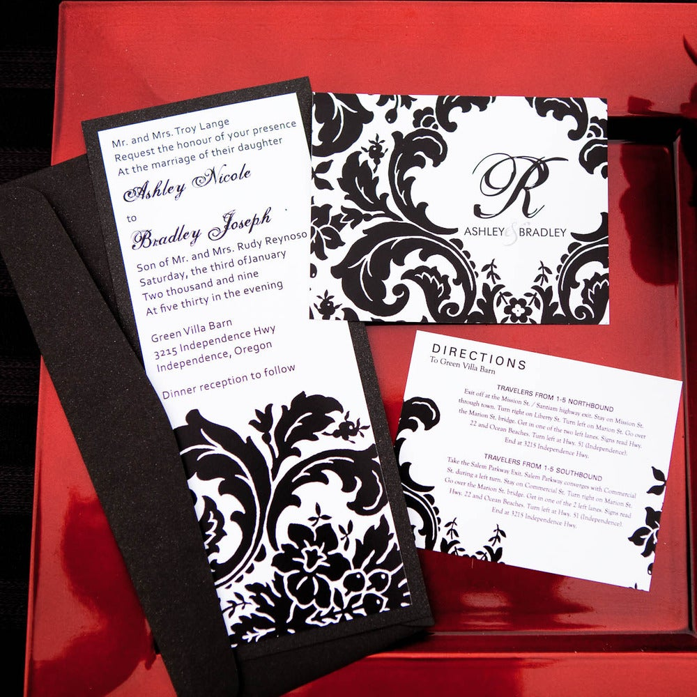 Red Pearl Designs — Elegant Damask Designer Wedding Invitations