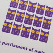 Image of 'A Parliament of Owls' screenprint