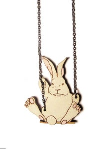 Image of Rabbit Swinging on a Swing Necklace