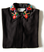Image of Beaded Black Button-up Blouse