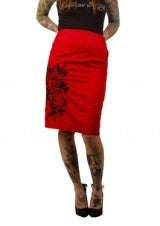 Image of Sailor Jerry: Roses Button Pencil Skirt