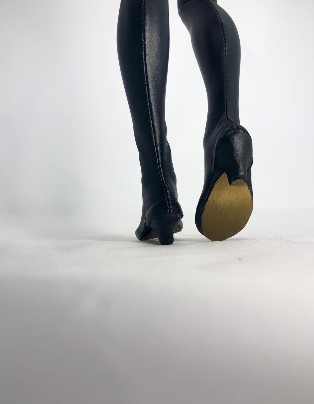 Black Leather Thigh High Boots Gold Sole: Minifee