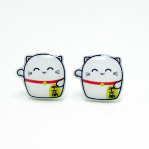 Image of Lucky Cat Earrings - Sterling Silver Posts