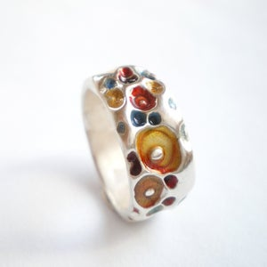 Image of Silver Coral Texture Enamel Ring