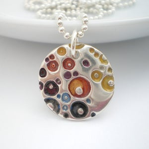 Image of Silver Enamel Pendant, Coral Texture Round Pendant