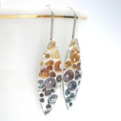 Image of Silver Enamel Earrings, Coral Texture