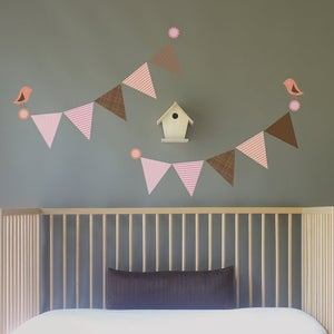 Image of Bunting Flags with Birds Removable Fabric Wall Decal