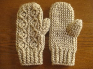 Image of crocheted cable mittens