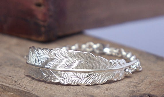 Image of Silver feather bracelet