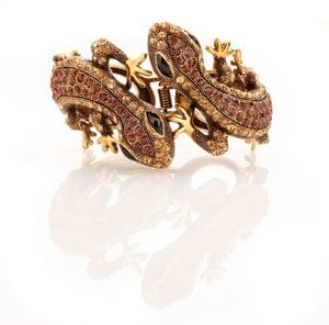 Image of Twin Gekko Swarovski crystal bracelet