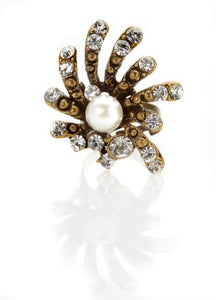 Image of Star of your galaxy faux diamond and pearl ring